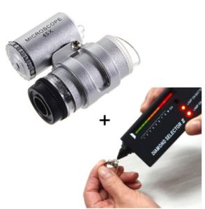 HDE Jeweler Tool Kit Diamond Selector V2 Portable Tester + 45X Illuminated LED Loupe